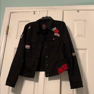 """CUTE! Black cotton """"patches"""" jacket XL"""